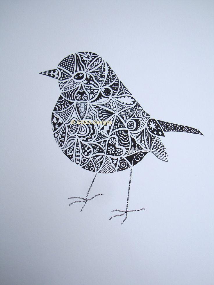 bonne idée pour un zentangle  Hand drawn Robin Art Screenprint. £60,00, via Etsy.