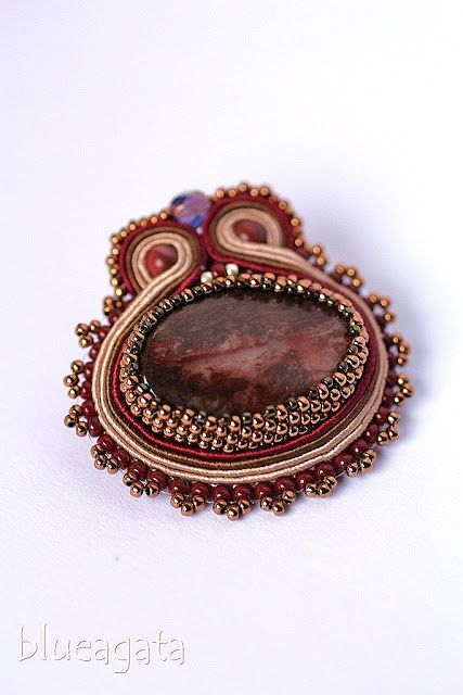 blueagata: Blood red brooch with agate and beading finish
