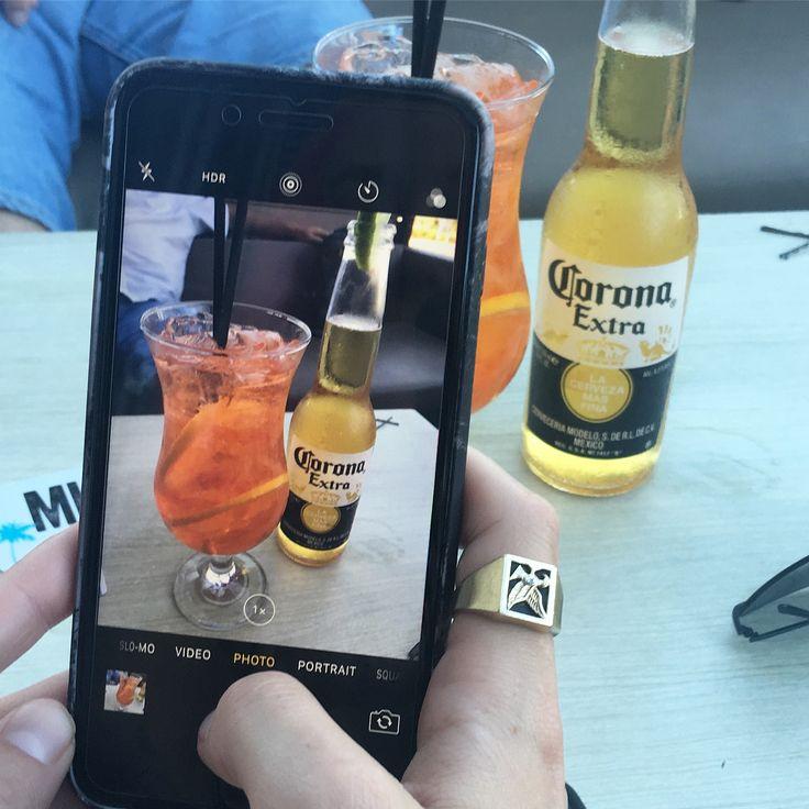 Cool drink time. Corona and spritz Yumm.