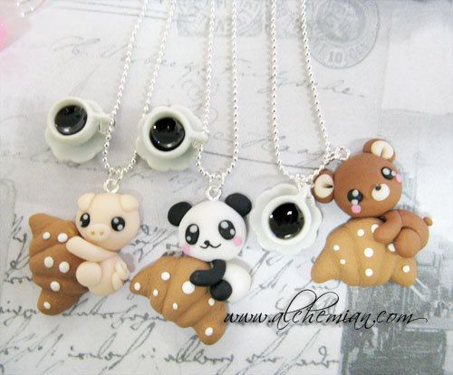 Handmade Polymer Clay Cute necklace by AlchemianShop on Etsy, €18.00