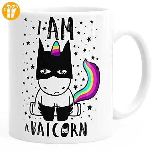 Kaffee-Tasse Einhorn Unicorn Batcorn einfarbig MoonWorks® weiß unisize - Tassen mit Spruch | Lustige Kaffeebecher (*Partner-Link)