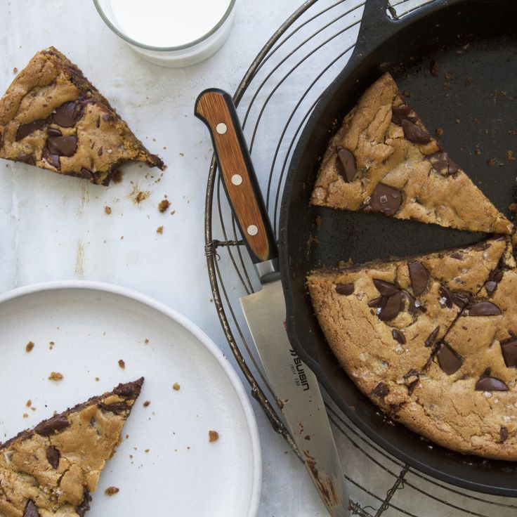 Skillet Chocolate Chip Cookie -- The batter for this large-format dreamboat of a cookie (crunchy on the edges, chewy in the middle) is made in one bowl with no special equipment, and can be baked in either a cast-iron or large skillet.