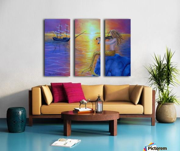 Art for Home, mermaid, seascape, fantasy, scene, mythical, legendary, magical, theme, colorful, purple, painting, artwork, Triptych, 3 split, stretched, canvas, multi panel, prints