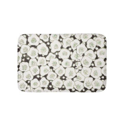 #Black White Flowers Art Print Asian Japanese Bath Mat - #Bathroom #Accessories #home #living