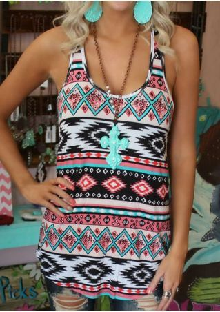 Geometric O-Neck Tank without Necklace