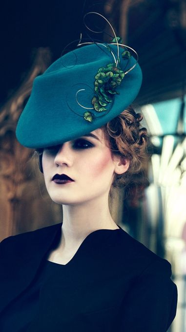 Jane Taylor Millinery, Benita, A/W 2013 -  1940's percher velour felt hat with feather feather  quill detail.