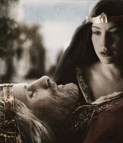 All left him save Arwen, and she stood alone by his bed.  And for all her wisdom and lineage she could not forbear to plead with him to stay yet for a while. She was not yet weary of her days, and thus she tasted the bitterness of the mortality that she had taken upon her.