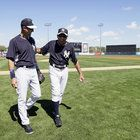 Namath threw the first pitch for a Yankees spring training game today.