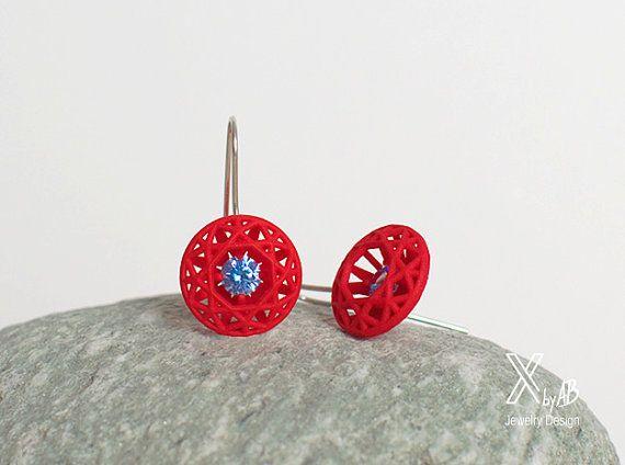 Red Diamond Orecchini con pietre blu, gioielli contemporanei, orecchini geometrici, 3d stampato gioielli, regalo per le donne, istruzione rosso