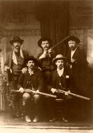"""U.S. Deputy Marshals These deputy marshals were sent from the federal court at Fort Smith, Arkansas to capture Ned Christie. Front row, l-r: Charles Copeland, Gideon S. """"Cap"""" White. Back row, l-r: Bill Smith, Bill Ellis, Paden Tolbert, 1892 http://www.legendsofamerica.com/law-usmarshals.html"""