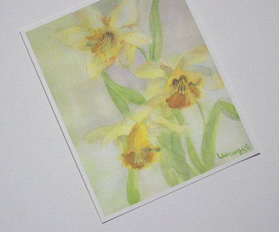 Springtime Daffodils Print, Daffodil Watercolor, Giclee Print, Yellow Flower Watercolor, Fine Art Print, Watercolor Print, 8 x 10 Inches