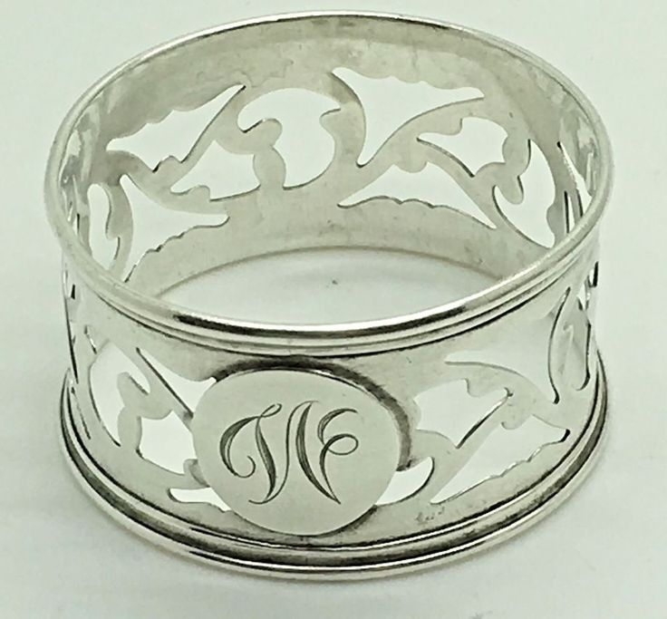 Sterling Silver Napkin Ring Roden Bros Birks W  Monogram Letter  Pierced Cut Out #RodenBros