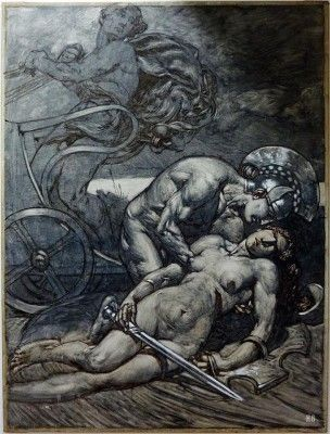 Πενθεσίλεια καιι Αχιλλέας. Ο Alexander Rothaug (* 13 Μαρτίου 1870 στην Βιέννη , Αυστρία, † 5, Μαρτίου 1946 στην Βιέννη , Αυστρία) ήταν Αυστριακός ζωγράφος και εικονογράφος.