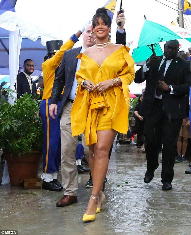 ae0605d6239 Rihanna ensured all eyes were on her as she attended a ceremony to unveil  the newly-named Rihanna Drive in Bridgetown