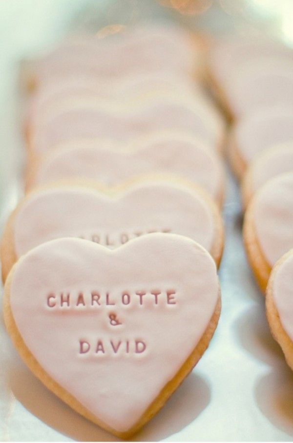 baby heart cookies | Engrave some simple baby pink cookies with your names for a clean ...