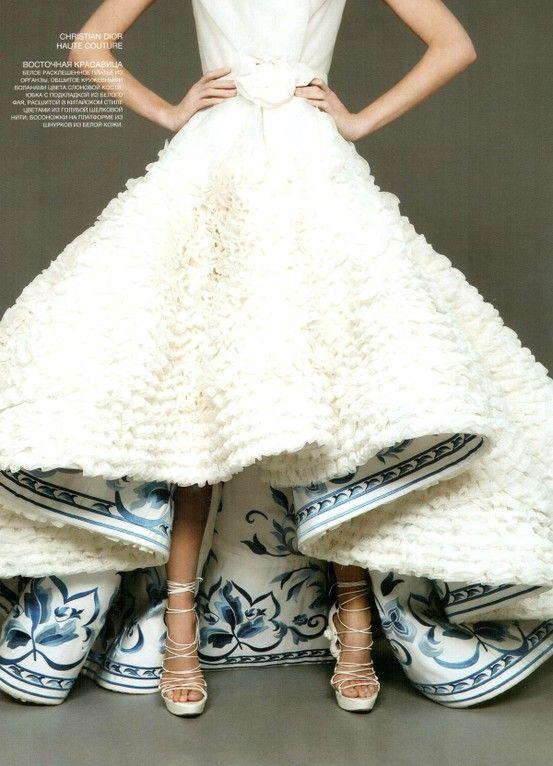 Christian Dior Haute CoutureWedding Dress withBlue FloralUnder Print: Wedding Dressses, Idea, China Patterns, Christiandior, Wedding Dresses, Christian Dior, Something Blue, The Dresses, Haute Couture