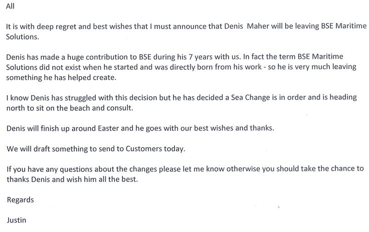 Kind words from my boss after handing in my resignation last week. After nearly 7 years as Business Development Manager at BSE Maritime Solutions, its time for a sea change and a new career challenge. #frasercoast