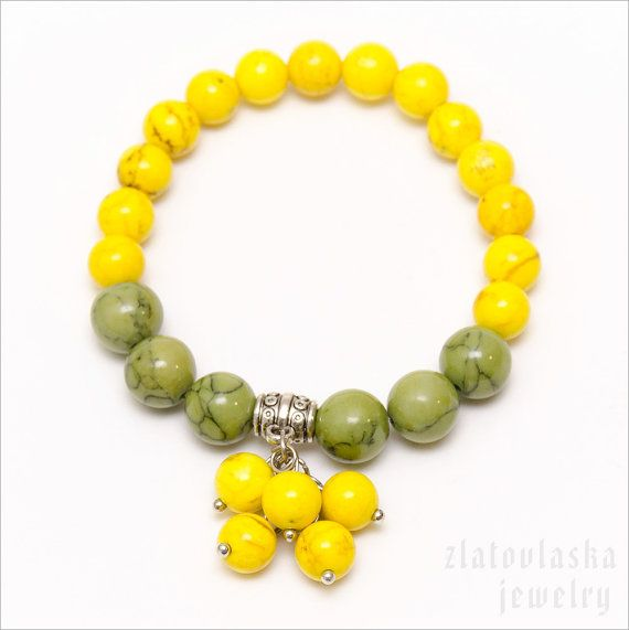 Yellow & Green Bunch Bracelet by ZlatovlaskaJewelry on Etsy