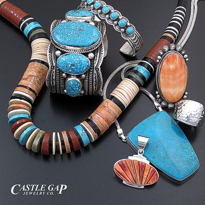 Handmade Native American Sterling Silver Jewelry with Natural Turquoise, Shell, and Stones at Castle Gap Jewelry