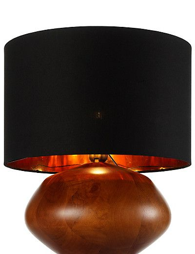 Beautiful organic turned wooden base with a modern black for Chunky wooden floor lamp