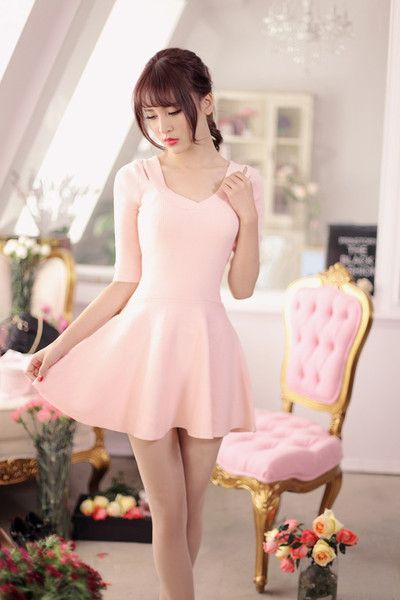 V-neck knit nine points sleeve dress - AddOneClothing - 6