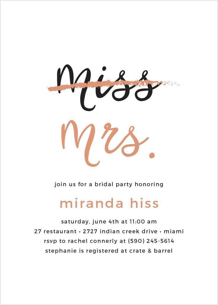 Miss To Mrs Foil Bridal Shower Invitations In 2020 Bridal Shower