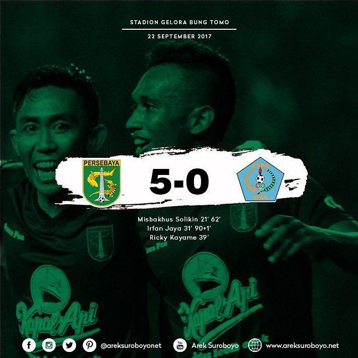 FT Persebaya Surabaya 5-0 PSBS Biak  Misbakhus Solikin 21' 62'  Irfan Jaya 31' 90+1'  Ricky Kayame 39'' #PersebayaDay #Bonek #Persebaya #ArekSuroboyo #GreenForce#PersebayaEmosiJiwaku #KamiHausGolKamu