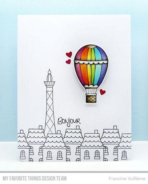 Card by Francine (www.1001cartes.ch) karte, carte, carterie, cardmaking, cardmaker,   crafts, papercrafts, handmade, diy, stamping, #1001cartes,   mftstamps, #mftstamps, in paris, rainbow, hot air balloon, bonjour, scene