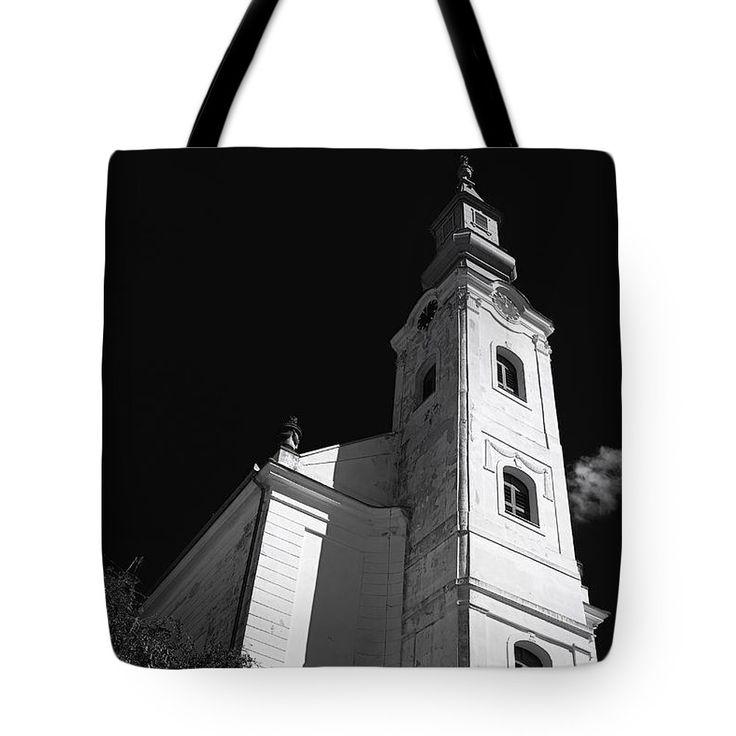 Traditional Culture Tote Bag featuring the photograph Hungarian Reformed Church In Black White. by Jan Brons. Hungarian reformed church in Black White.     Reformed church near the Balaton Lake in Hungary.