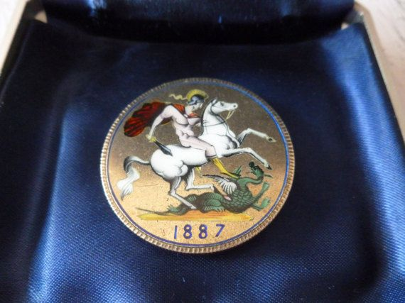 Antique 1887 Enamel Saint George Dragon Slayer Queen Victoria