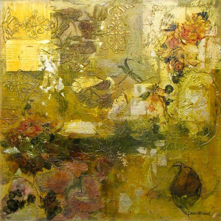 Demi McLeod 'DRAGON FLY' mixed media on canvas 100 x 100 cm