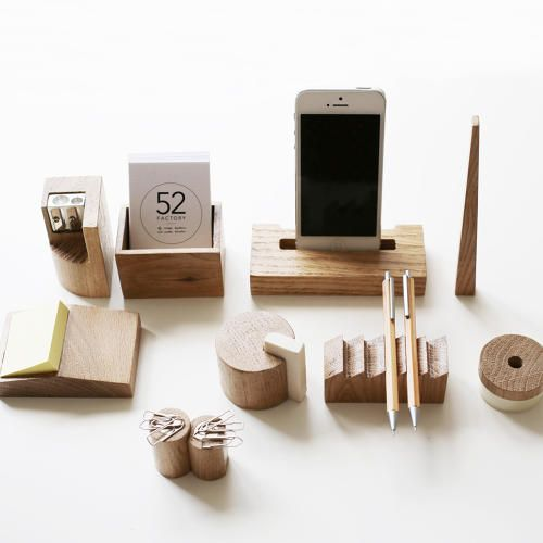 Icons of Soviet-era architecture inspired this oak desk set from Russian designers 52Factory.