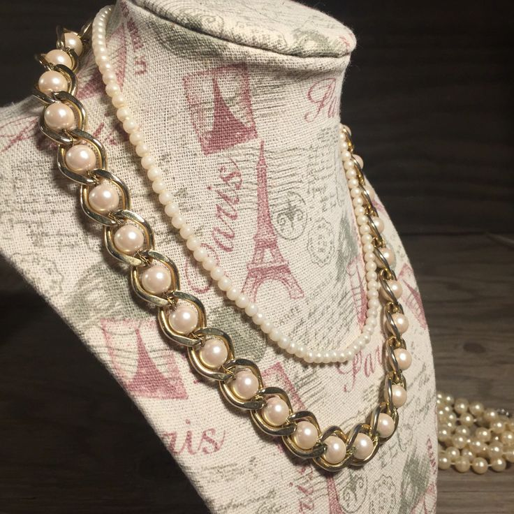 Weave Pearl Necklace, Faux Pearls and Gold Accent Necklace, Two Necklaces by…