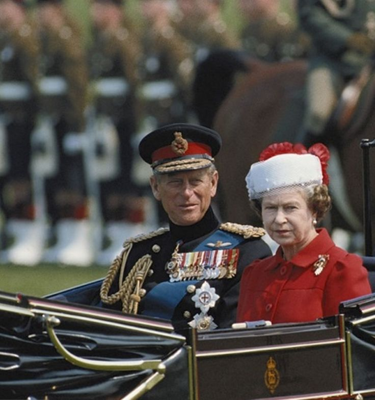 May 27, 1987 Prince Philip and Queen Elizabeth II travel in a horsedrawn carriage through Berlin while on a State Visit to Germany