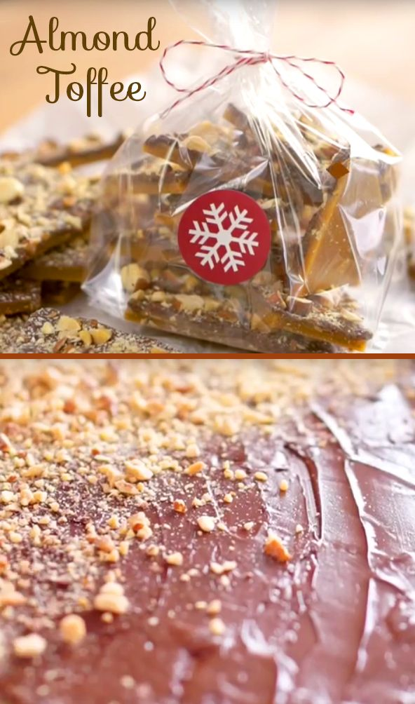 Almond Toffee Recipe | Looking for a great homemade gift your friends and family will love? Try this easy almond toffee that tastes out-of-this-world amazing and is sure to put a smile on people's faces. Click to watch the quick video and find out how easy it comes together! #holidaytreats