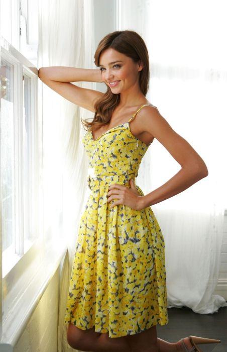 miranda kerr, so beautiful in a yellow sundress