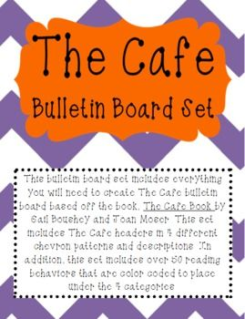 This bulletin board set includes everything you will need to create The Cafe bulletin board based off the book, The Cafe Book by Gail Boushey and Joan Moser. This set includes The Cafe headers in 4 different chevron patterns and descriptions. In addition, this set includes over 50 reading behaviors that are color coded to place   under the 4 categories.