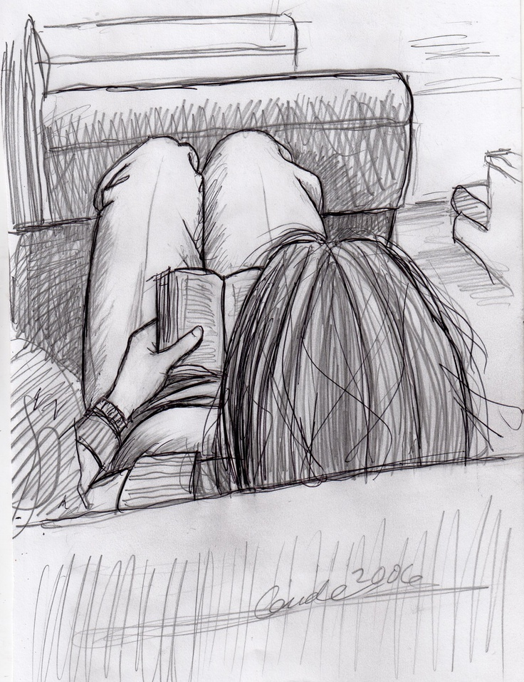 Sketch of woman reading on Metro North RR during my commute into New York —Karl Gude