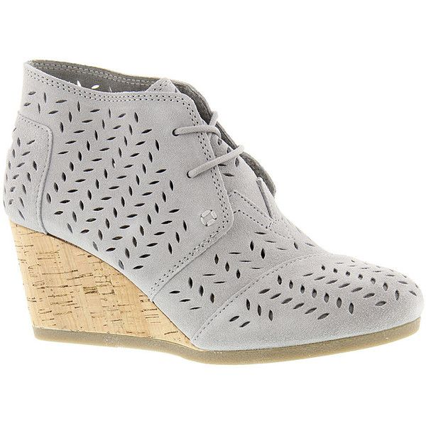 TOMS Desert Wedge  Women's Grey Boot 6 M ($109) ❤ liked on Polyvore featuring shoes, boots, grey, wedge boots, gray wedge boots, suede lace-up boots, grey boots and wedge heel boots