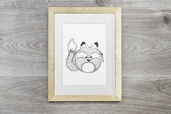 Vos Illustratie, handgemaakte vos tekening