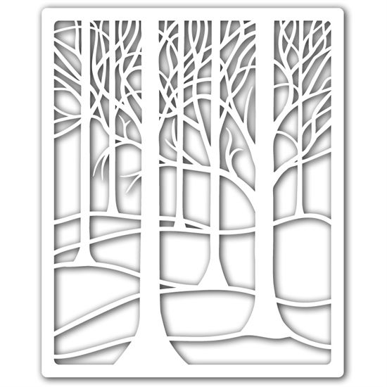 """9"""" x 11"""" Treescape Stencil by Clarity Stamp"""