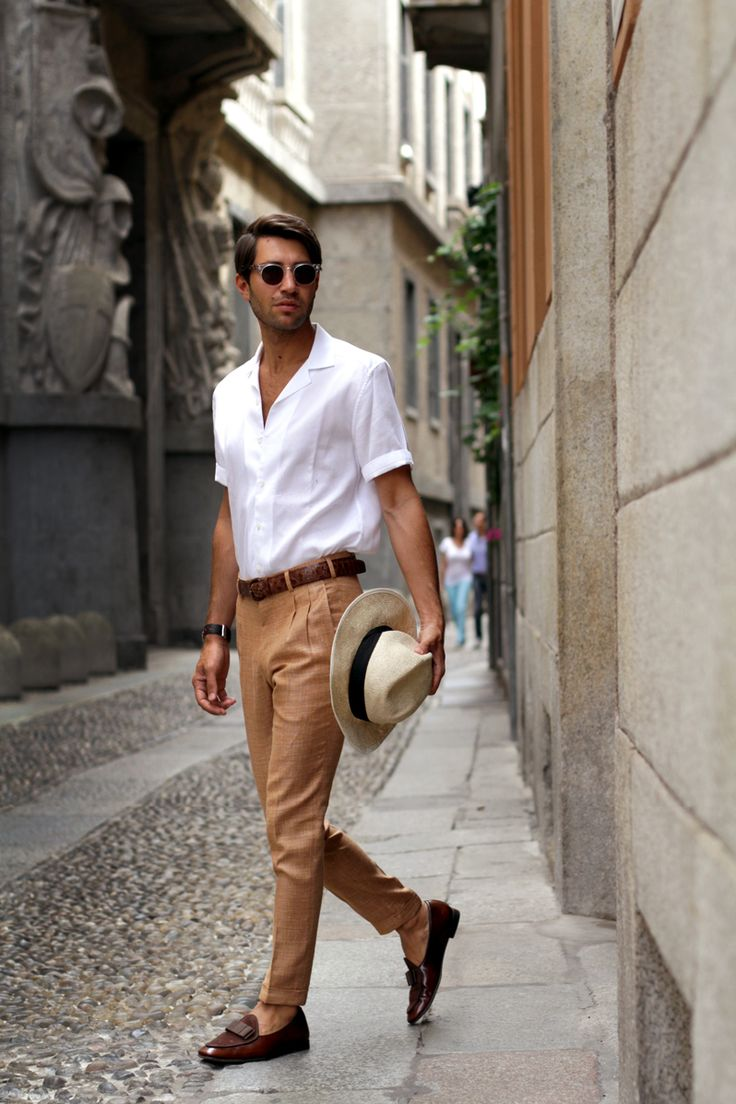 crisp and classic men's fashion // white summer shirt with tan ankle length  pants