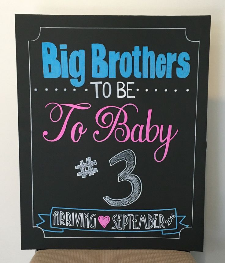 Pregnancy Announcement Chalkboard- Big Brothers To Be To Baby #3 by AMomAndHerBoys on Etsy