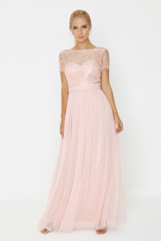 3de06075f5 Little Mistress Pink Lace Overlay Maxi Dress - Little Mistress from Little  Mistress UK
