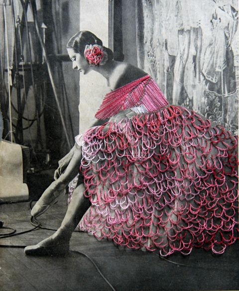 The Cutting & Stitching Edge with Mr. X-Stitch: Jose Romussi - Dancer Mary Ellen Moylan - Embroidery on photo (2012) - Knitting, sewing, crochet, tutorials, children crafts, papercraft, jewlery, needlework, swaps, cooking and so much more on Craftster.org