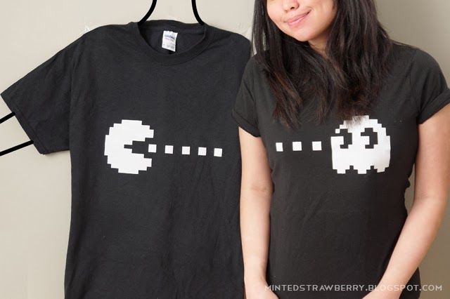 DIY: Pacman + Ghost Couple Shirt with free Stencil! @ mintedstrawberry.blogspot.com #Valentinesday #coupleoutfit