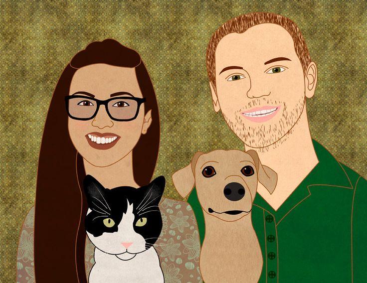 Aangepaste hond portret, aangepaste huisdier portret, illustratie van de hond, hond kunst aan de muur, aangepaste kat portret, kat illustratie, paar portret, bruiloft door catbrush op Etsy https://www.etsy.com/nl/listing/481922589/aangepaste-hond-portret-aangepaste
