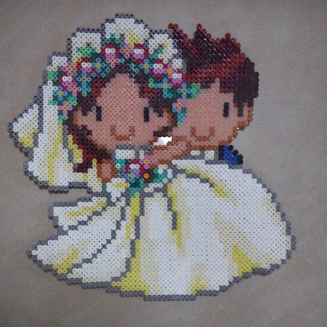 Kawaii wedding perler bead art by greyzx