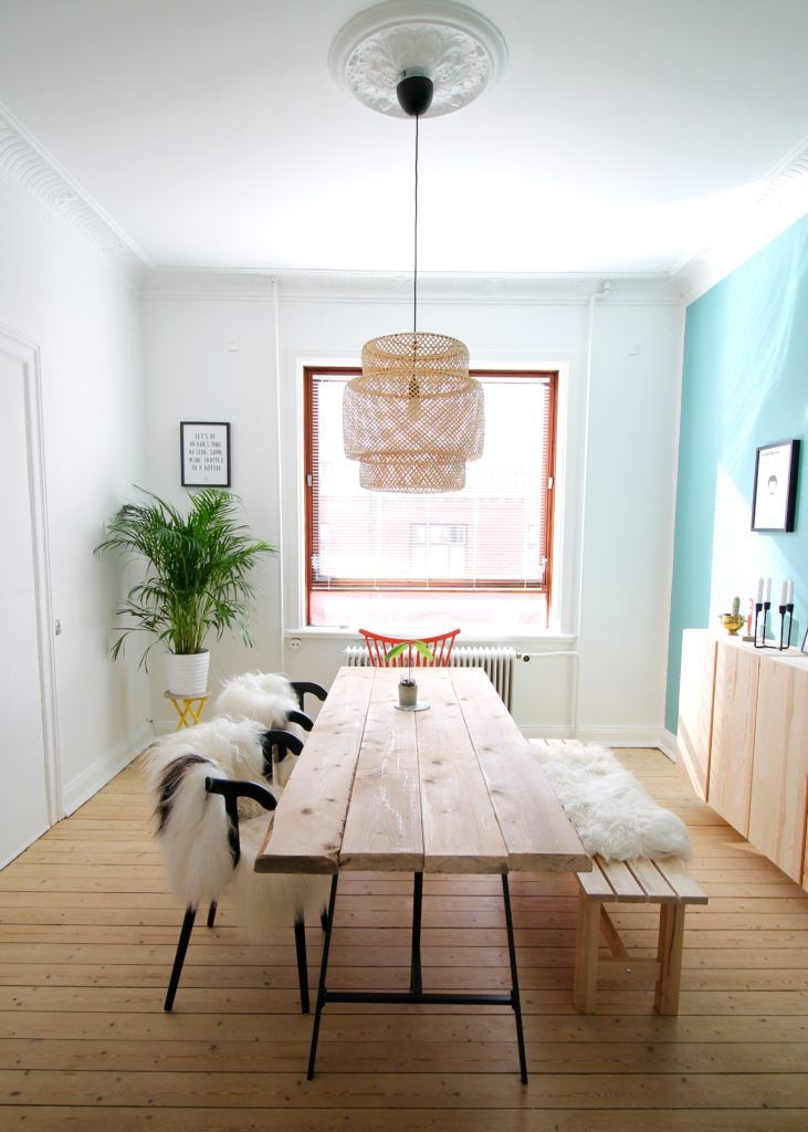 DIY dining table. Make your own rustic table. Dining room decoration. Colored wall. IKEA lamp