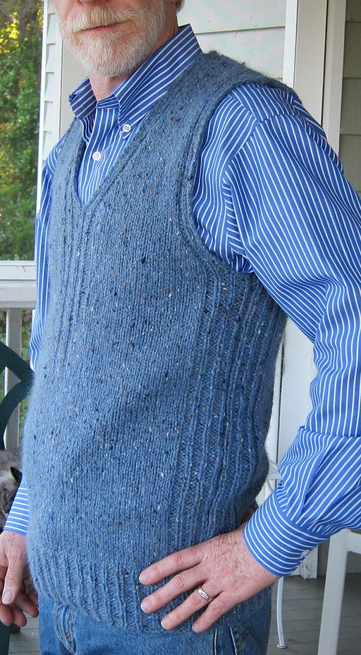 Free Knitting Pattern for Men's Textured Vest - Pullover vest with a v-neck and rib stitch details on the sides and neckline. No picking up stitches! Designed by Erika Knight to fit chest 36, 38, 40, 42, 44 inches. Pictured projects by kast and redsocksrules